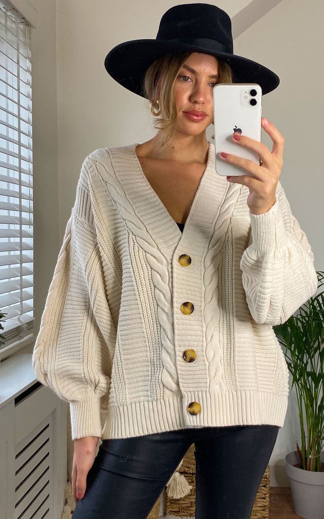 Cable Knit Over Size Cardigan_Cream by URBAN TOUCH