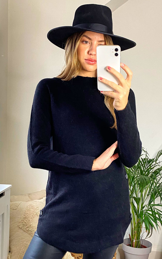 Tabii Black Jumper With Side Button Detail by Faux