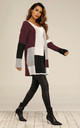 Colour Block Midi Cardigan In Burgundy Red & Grey & White by FS Collection
