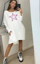 Pink Leopard Star Oversized Sweatshirt Dress In White by Love