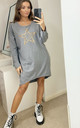 Leopard Star Oversized Sweatshirt Dress in Grey by Love