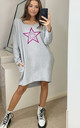 Pink Leopard Star Oversized Sweatshirt in Grey by Love