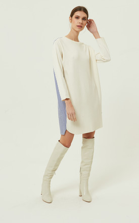 QUILLA CREAM JUMPER DRESS STRIPS PANELS by Jovonna London