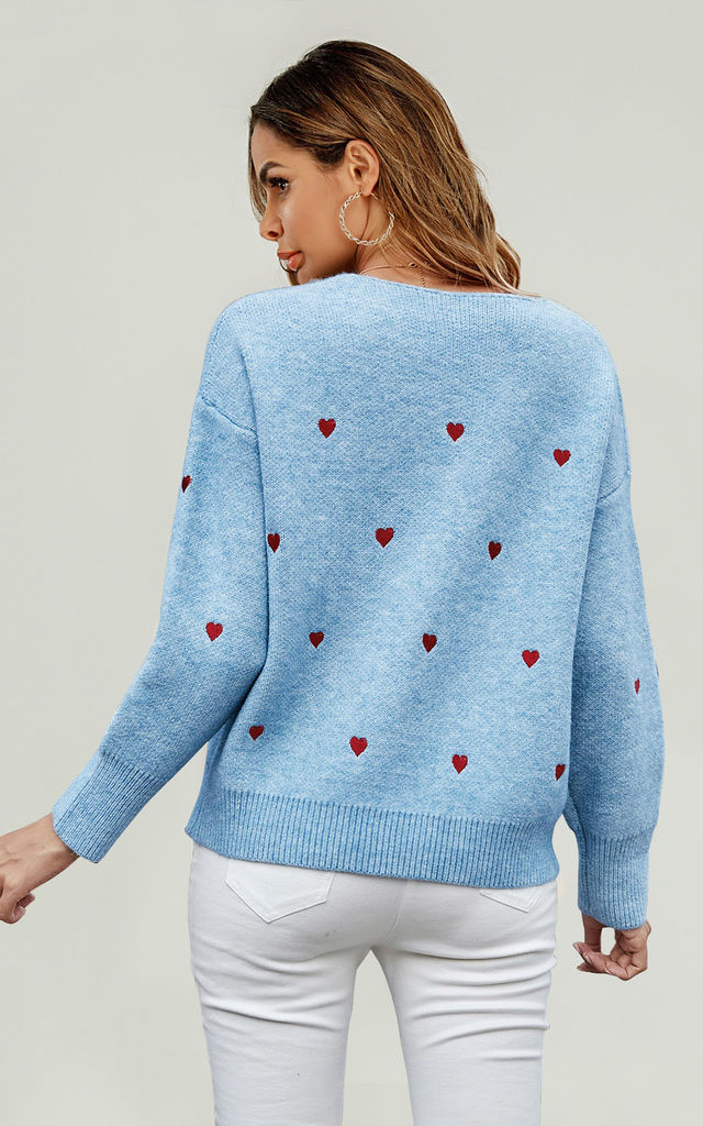 Embroidery Red Heart V Neck Jumper In Blue by FS Collection
