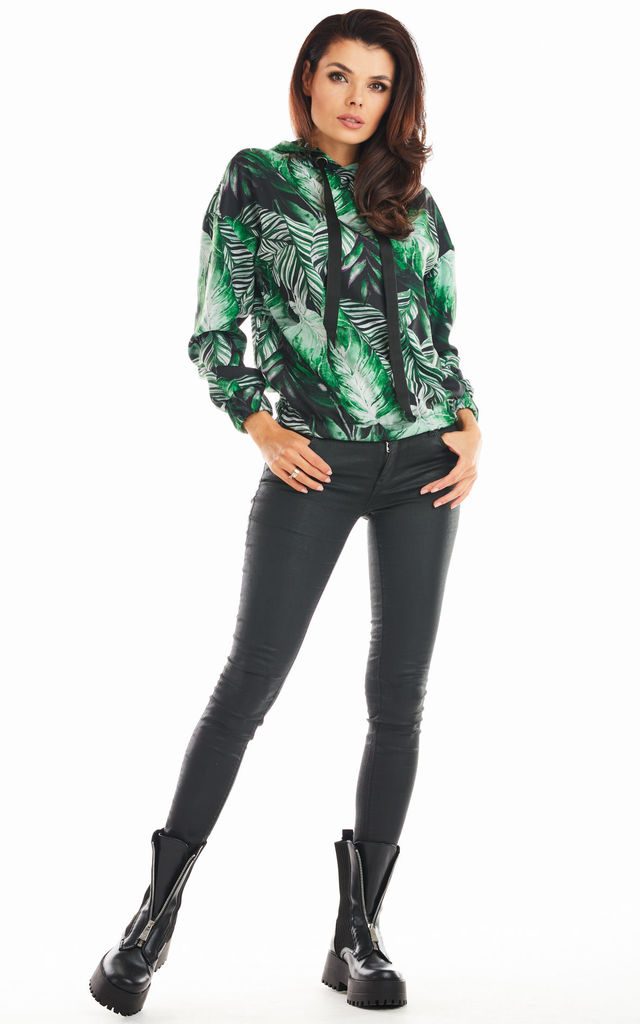 Hoodie in Green Floral Print by AWAMA
