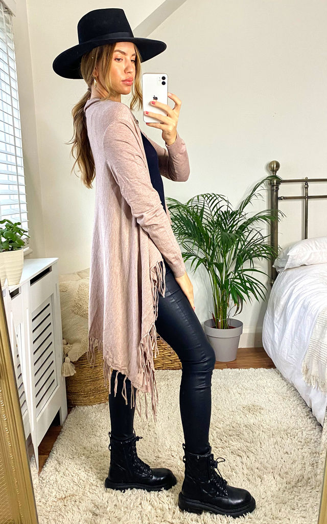 Stone Fringed Waterfall Cardigan by APRICOT