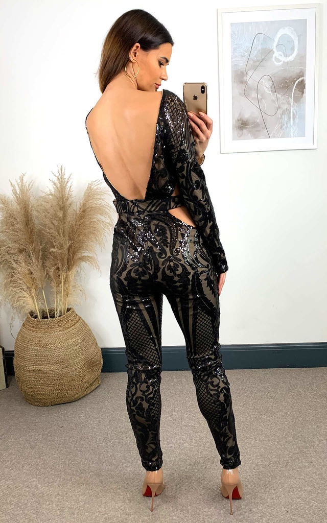 Toxic Black Cut Out Luxe Plunge Illusion Sequin Mesh Embellished Jumpsuit by Nazz Collection