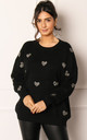 Metallic Heart Relaxed Soft Knit Jumper in Black & Silver by One Nation Clothing
