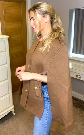 Military Style Cape in Camel by Malissa J Collection