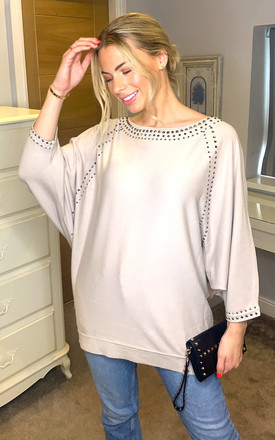 Oversized Boat Neck Jumper with Studs on Seams by Malissa J Collection