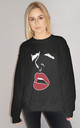 Lip Line Print Oversize Jumper in Black by Sade Farrell