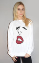 Lip Line Print Oversize Jumper in White by Sade Farrell