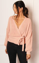 Chunky Knit Wrap Over Cardigan in Pink by One Nation Clothing