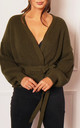 Chunky Knit Wrap Over Cardigan in Khaki by One Nation Clothing