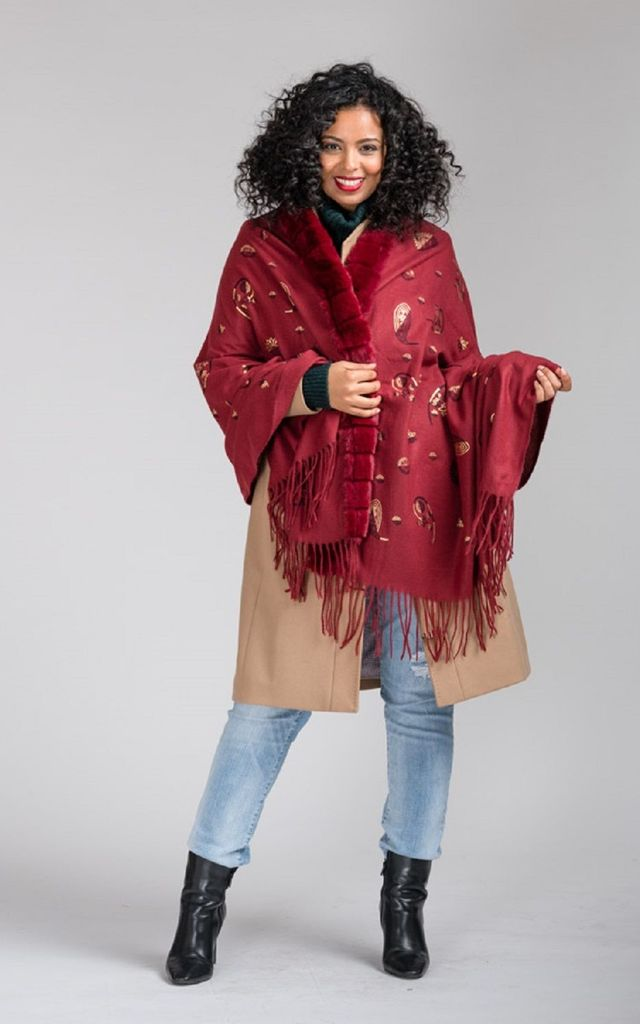 Nina large fur wool blend shawl in maroon by TWO RUFFLES
