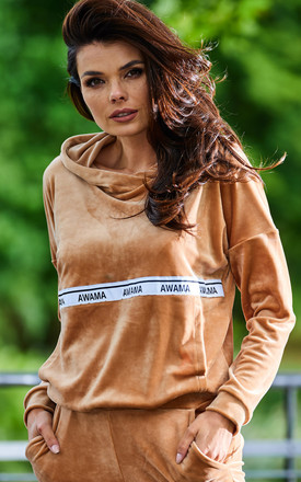 Warm and Cozy Velour Hoodie in Beige by AWAMA