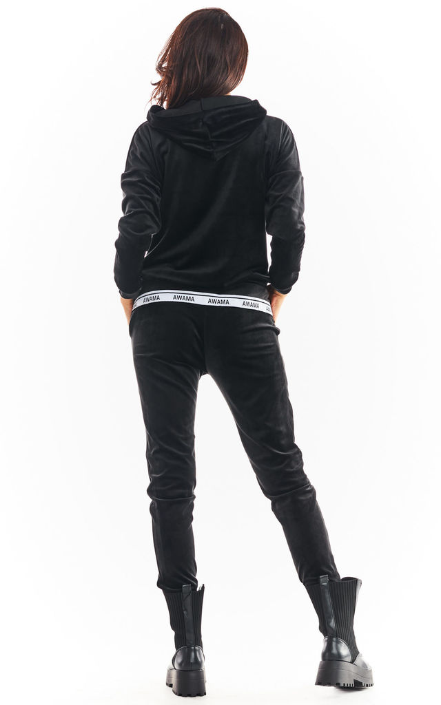 Warm and Cozy Velour Hoodie in Black by AWAMA