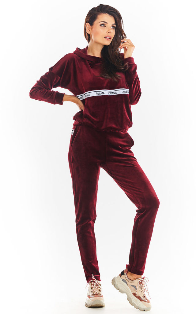 Velour Joggers with Pockets in Maroon by AWAMA