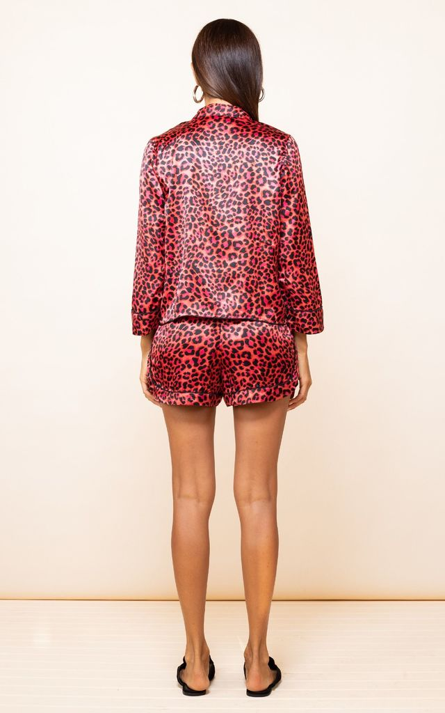 Oona Shortie PJ Set in Ruby Red Leopard by Dancing Leopard