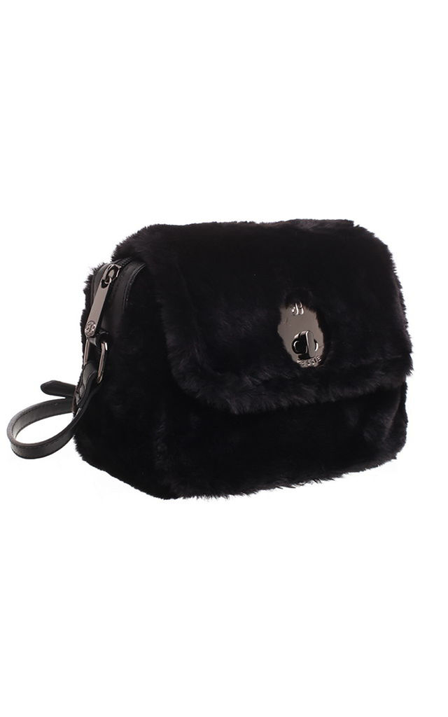 FLUFFY FAUX FUR FLAP OVER CROSS BODY BAG BLACK by BESSIE LONDON