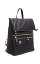 FLAP OVER ZIPPER BACKPACK BLACK by BESSIE LONDON
