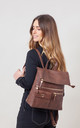 FLAP OVER ZIPPER BACKPACK COFFEE by BESSIE LONDON