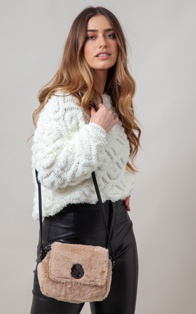 FLUFFY FAUX FUR FLAP OVER CROSS BODY BAG BEIGE by BESSIE LONDON