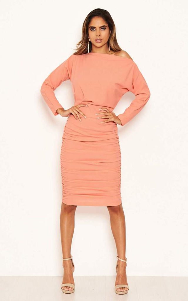 Peach Off Shoulder Ruched Dress by AX Paris