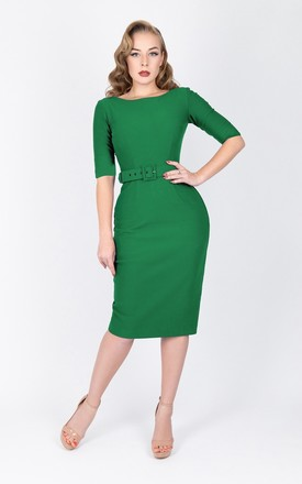 V-back dress with slit elbow length sleeve and belt in green by Zoe Vine