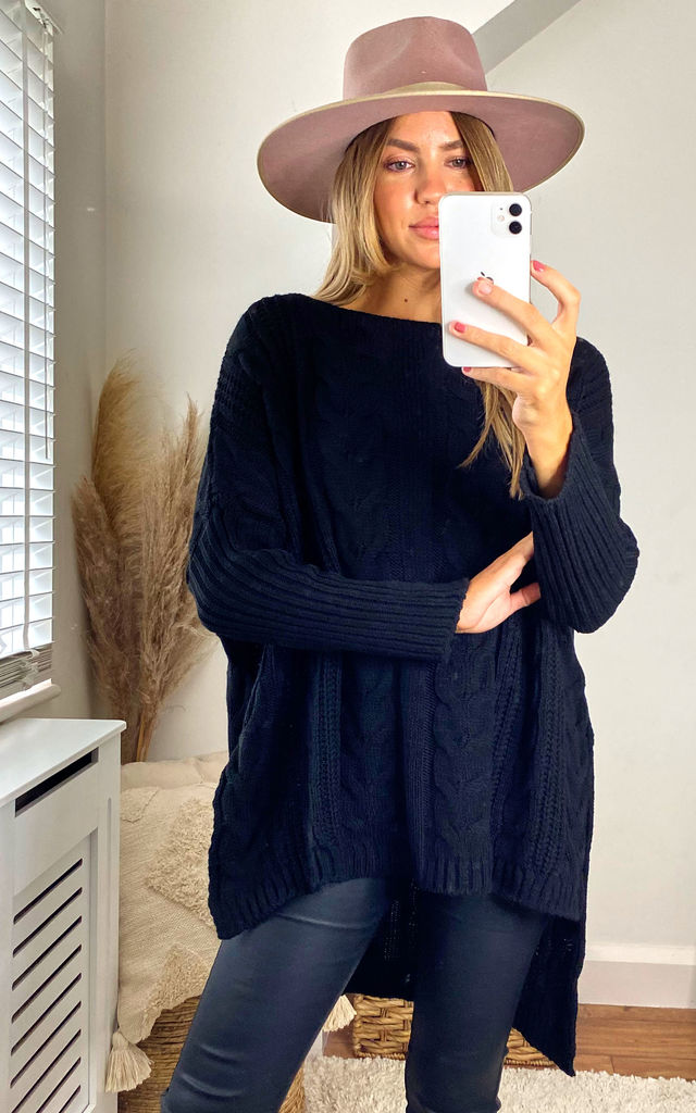 Oversized Knitted Jumper In Black by Aftershock London