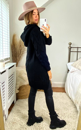 Hooded Cable Knitted Longline Cardigan In Black by Aftershock London