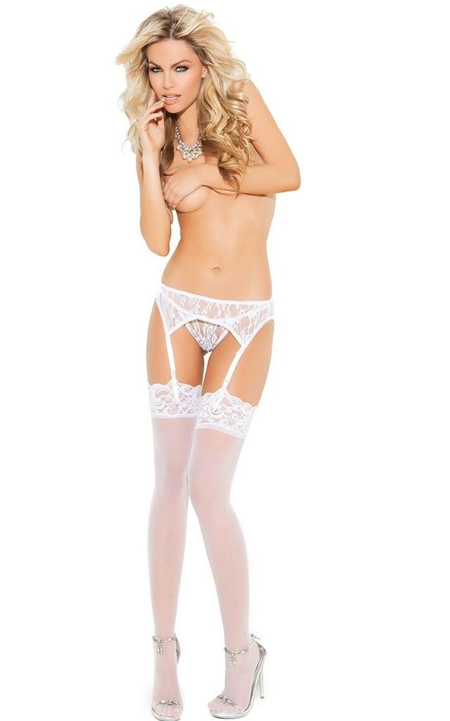 White Lace Suspender Belt & Thong by BB Lingerie