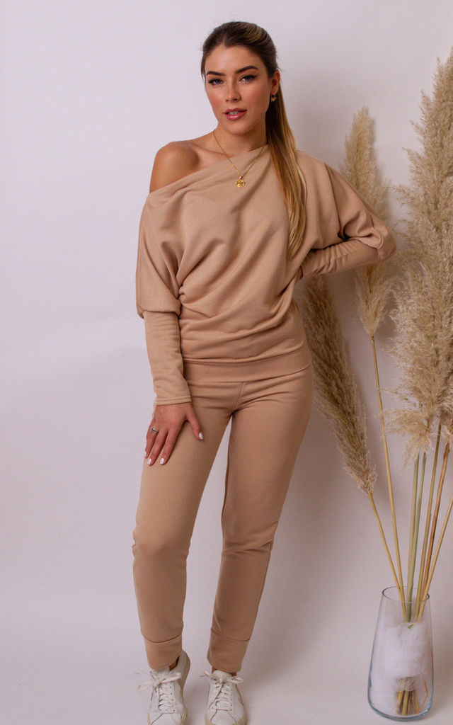 Mia Off the Shoulder Sweater In Camel by Pleat Boutique