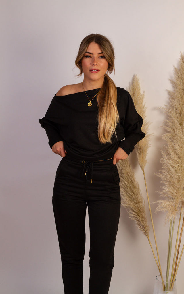 Rylee Jogger Bottoms In Black by Pleat Boutique