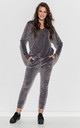 Cozy Velour Tracksuit in Grey by Makadamia