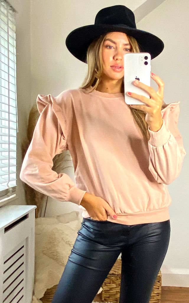 Ivy Frill Sleeve Sweatshirt Jumper in Blush by Style Cheat