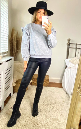 IVY FRILL SLEEVE SWEATSHIRT IN GREY by Style Cheat