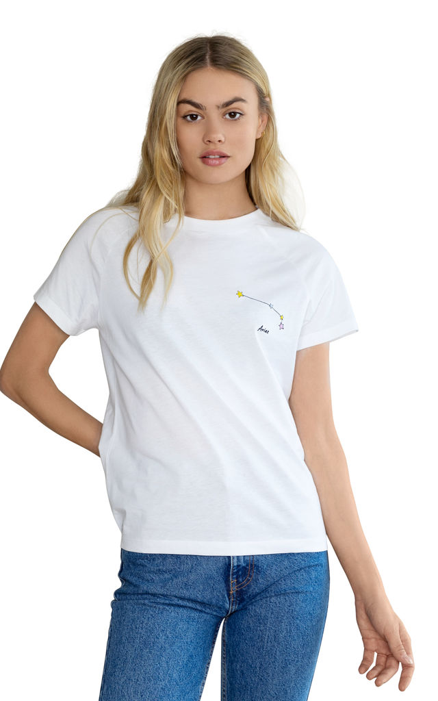 Aries White Embroidered Personalised Zodiac T-shirt by Bezo London