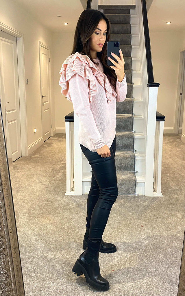 Frill Long Sleeve Jumper Pink by Feverfish