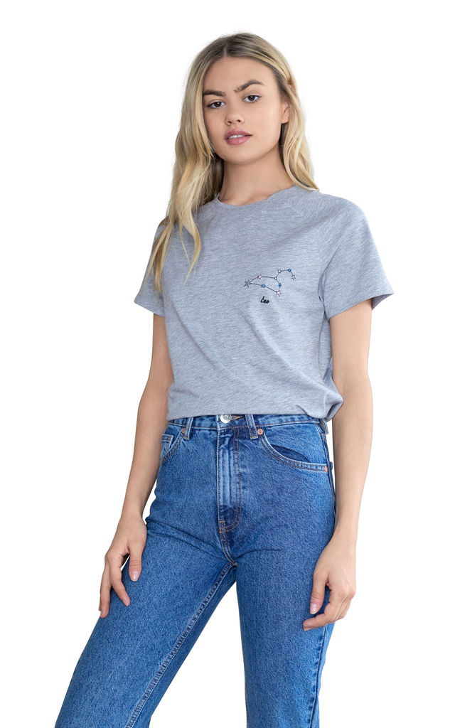 Leo Grey Embroidered Personalised Zodiac T-shirt by Bezo London