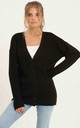 Ribbed Button Down Cardigan_Black by URBAN TOUCH