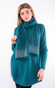 Long sleeve bell split jumper & scarf (Teal) by Lucy Sparks