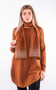 Long sleeve bell split jumper & scarf (Brown) by Lucy Sparks
