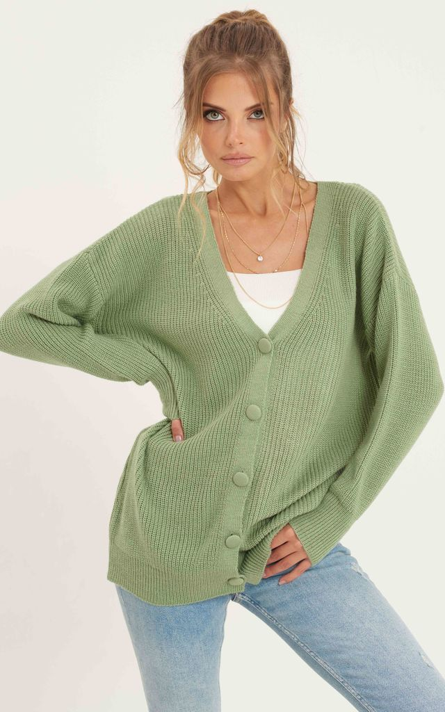 Ribbed Button Down Cardigan_Green by URBAN TOUCH