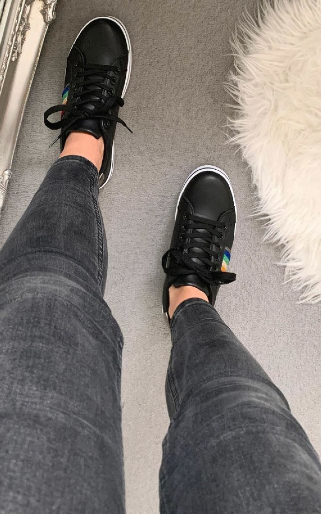 Grace Rainbow Stripe Trainers in Black by IKRUSH