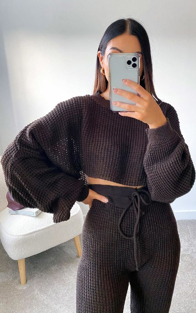 Lauren Knitted Cropped Co-ord in Brown by IKRUSH