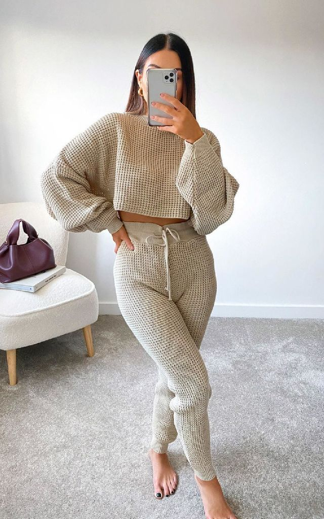 Lauren Knitted Cropped Co-ord in Beige by IKRUSH