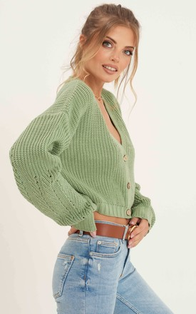 Crop Cable Knit Cardigan_Green by URBAN TOUCH