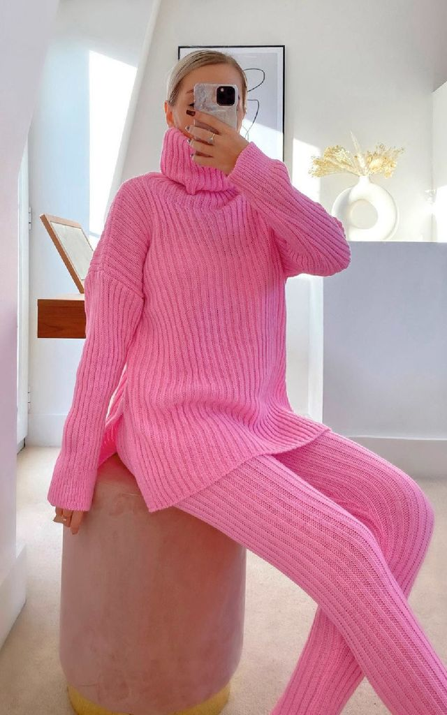 Lauren Ribbed Knitted Co-ord in Pink by IKRUSH