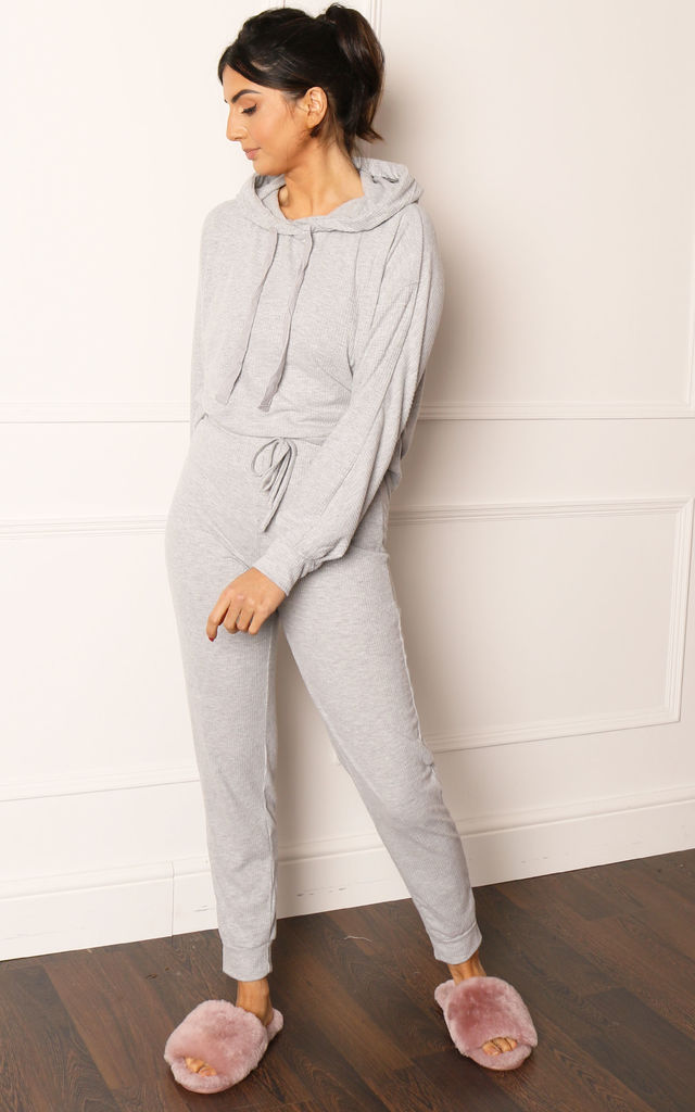 Lightweight Ribbed Hoodie & Joggers Lounge Set in Grey Melange by One Nation Clothing